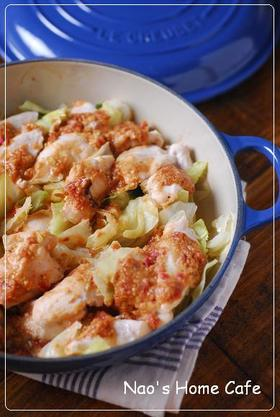 ささみ&キャベツの梅チーズ味噌蒸し焼き