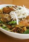牡蠣と小松菜の香味醤油焼きそば