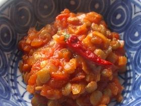手作りトマトソースとレンズ豆の前菜♪
