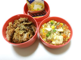 91、ミニチャーシュー丼と餡かけ豆腐弁当