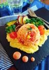 彩り野菜の簡単オープンオムライス。