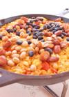 フライパンで作るチキンと豆のパエリア