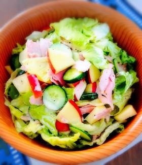 リンゴとハムのレタスサラダ