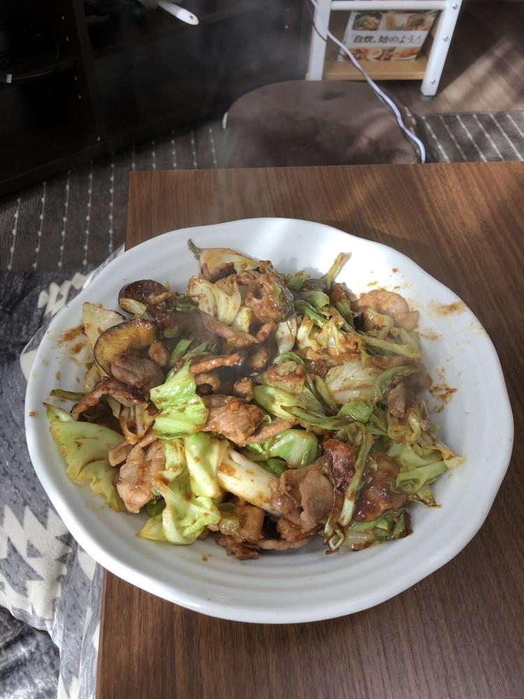 豚肉とキャベツの味噌炒め、ナスも