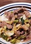 牛肉とキャベツと長ネギのみそダレ炒め