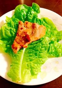 サンチュで食べる漬け込み焼肉