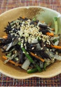 ひじきと千切り野菜のわさび醤油和え