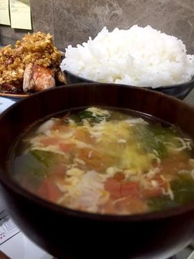 トマトレタス卵 スープ