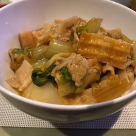 簡単白菜と豚バラと厚揚げのあんかけ丼