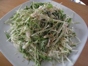水菜と山芋のシーザーサラダ風