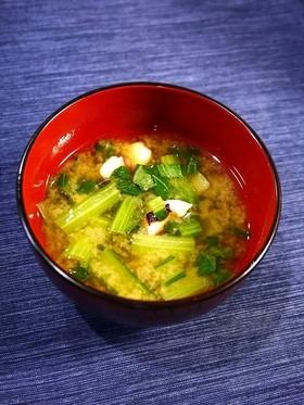 疲労回復!タコと小松菜のお味噌汁