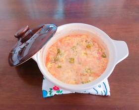 土鍋で簡単オムライス風リゾット