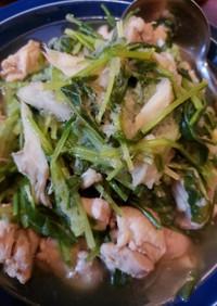 鶏と壬生菜の伊吹おろし煮