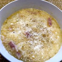 ラーメンスープで!カルボナーラご飯