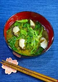 簡単!出汁不要☆菜の花と椎茸のお味噌汁