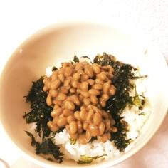 ズボラ飯★納豆と海苔のゴマ油風和え丼