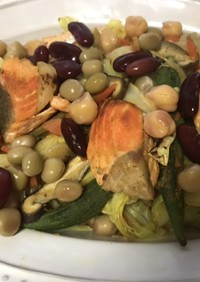 鮭と豆&カレー炒め!コレステロール対策!