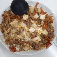 サッポロ一番残りスープde肉豆腐の卵とじ