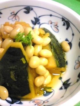 圧力鍋使用☆かぼちゃと大豆の煮物