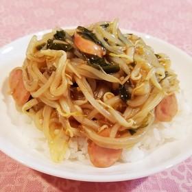 サッポロ一番しょうゆ味☆もやしワカメ丼