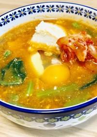 みそラーメンのスープで簡単海鮮スンドゥブ