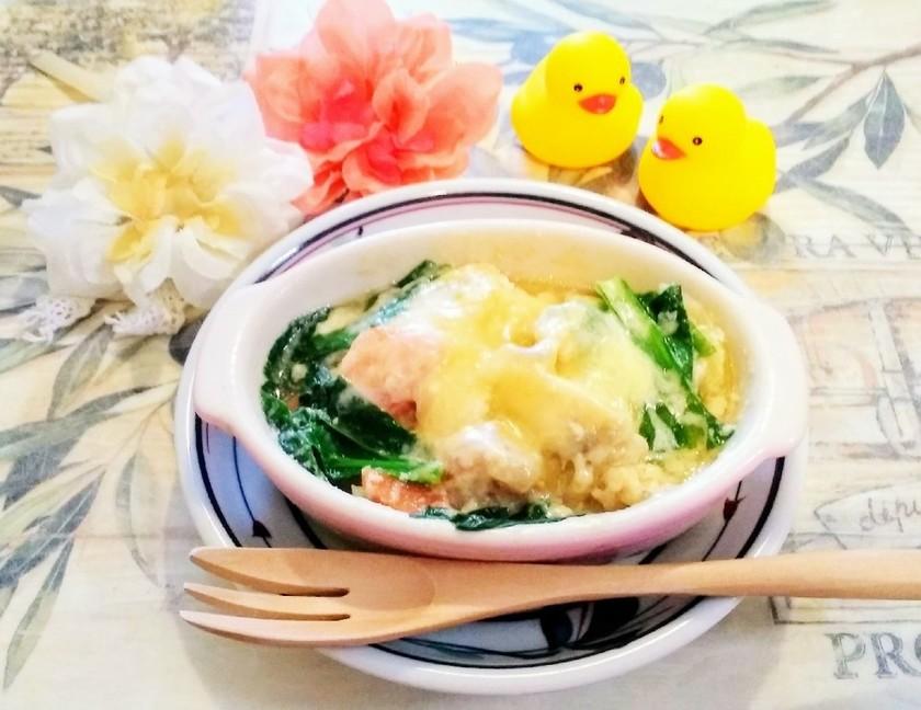 簡単時短朝食3  お餅のスープグラタン