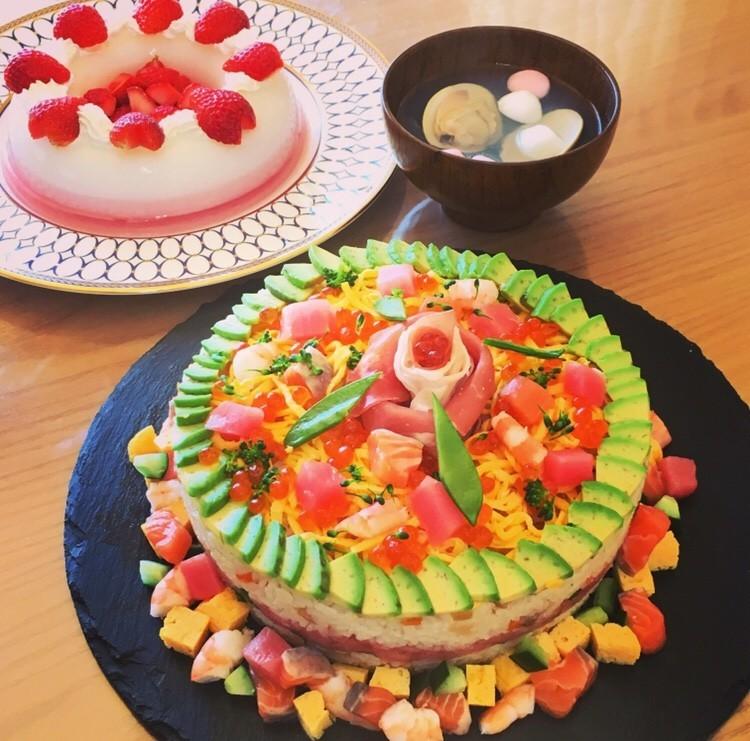 誕生日に♡子供喜ぶ可愛いちらし寿司ケーキ