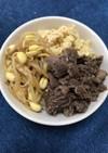 プルコギビーフと豆もやしのナムルの3色丼