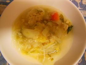 鶏団子と野菜の中華スープ