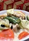 お豆さんと温野菜の具だくさん豆乳スープ♡