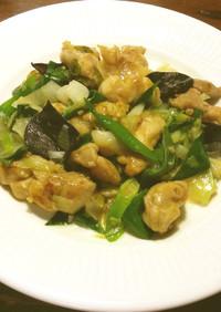 鶏肉と葉玉葱の魚醤炒め