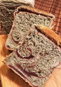 美しいマーブル模様*よもぎあん食パン*