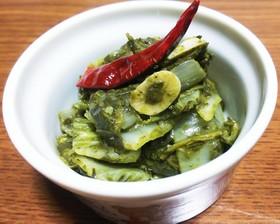 適当!白菜と緑茶葉のニンニク炒め