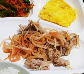 豚肉もやし紅生姜の炒め物