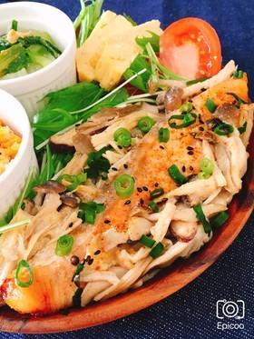 レンジで簡単!鮭ときのこの味噌マヨ蒸し