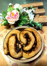ふすまの味噌クルミロールパン
