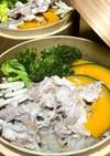温野菜と豚しゃぶ肉の中華セイロ蒸し