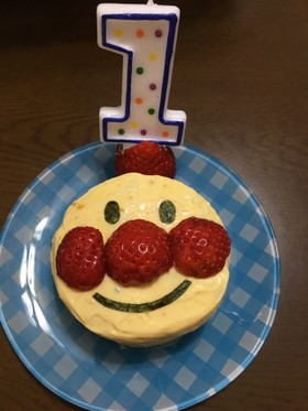 祝一歳☆アンパンマンケーキ・ご飯