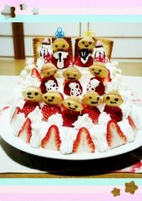 おひな祭りに、イチゴのケーキ