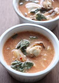 大葉たっぷり牡蠣のキムチスープ