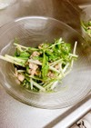 鯖の水煮缶と水菜の生姜マヨ和えサラダ