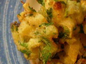 冷凍レンコンと香菜のかき揚