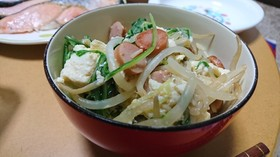 水菜ともやしの煎り豆腐