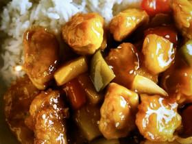 アメリカ式、鶏肉を使った酢豚