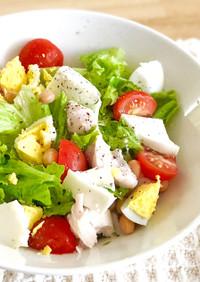 糖質制限★大豆と茹で鶏むね肉の元気サラダ