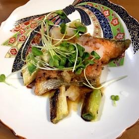鮭から揚げとネギのおろしポン酢