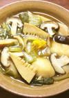 葉玉葱、きのこ、筍、餅麩の煮物