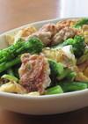 豚もも切り落とし肉と菜の花の卵炒め
