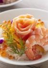 ひな祭りサーモンフラワーちらし寿司ケーキ