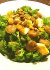 わさび菜と魚肉ソーセージのサラダ